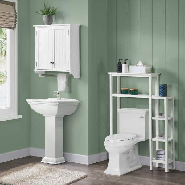 Alaterre Furniture Dover 35 In W Over, Above Toilet Cabinet With Towel Bar