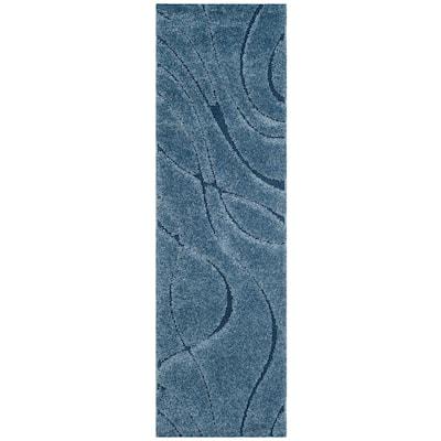 Florida Shag Light Blue/Blue 2 ft. 3 in. x 9 ft. Runner Rug