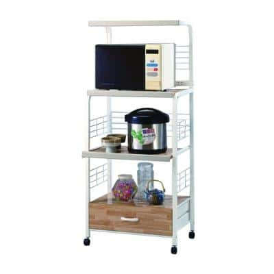 16.5 in. W x 60 in. H x 25.3 in. D White Commodious Kitchen Shelf On Casters