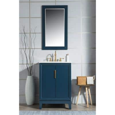 Water Creation Elizabeth Collection 24 In Bath Vanity In Monarch Blue With Vanity Top In Carrara White Marble Vanity Only Vel024cwmb00 The Home Depot