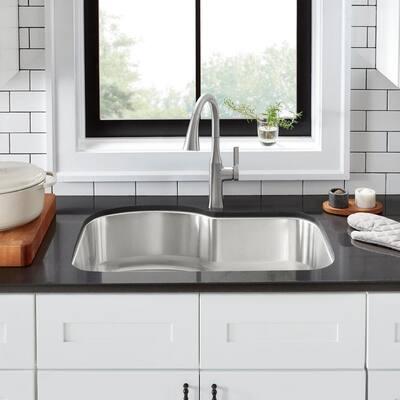 Undermount 18-Gauge Stainless Steel 32 in. 0-Hole Euro Style Single Bowl Kitchen Sink