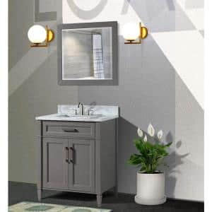Savon 30 in. W x 22 in. D x 36 in. H Bath Vanity in Grey with Vanity Top in White with White Basin and Mirror