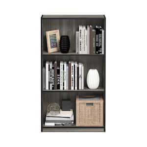 39.5 in. French Oak Gray/Black Wood 3-shelf Standard Bookcase with Storage