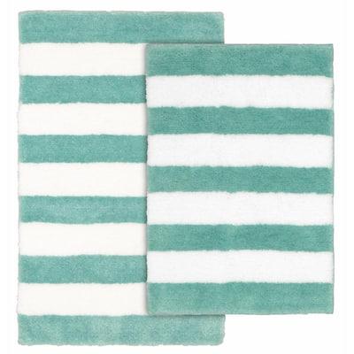 Beach Stripe Sea Foam and White 21 in. x 34 in. Stripe Nylon Polyester 2-Piece Bath Mat Set