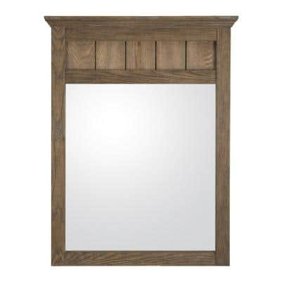 24 in. W x 31 in. H Framed Rectangular  Bathroom Vanity Mirror in Reclaimed Oak