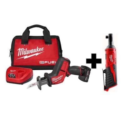 M12 FUEL 12-Volt Lithium-Ion Brushless Cordless HACKZALL Reciprocating Saw Kit W/ M12 3/8 in. Ratchet