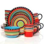 Pueblo Springs 16-Piece Rustic Hand Painted Featuring Red Ceramic Dinnerware Set (Service for 4)
