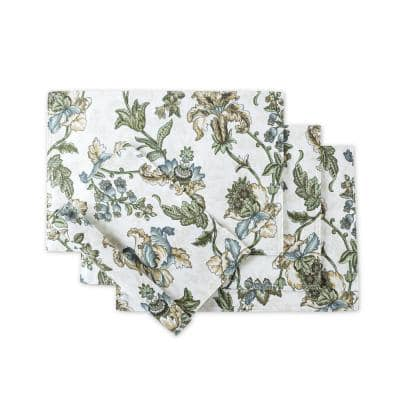 Madison Floral 18 in. x 12 in. Blue Placemat (Set of 4)