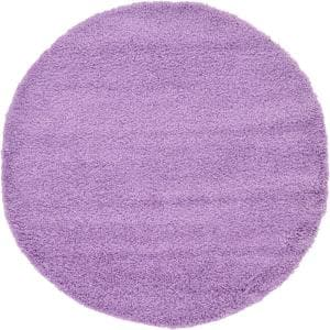 Solid Shag Lilac 6 ft. Round Area Rug