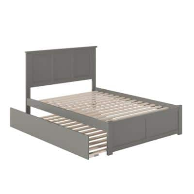 Madison Grey Full Platform Bed with Flat Panel Foot Board and Full Urban Trundle Bed