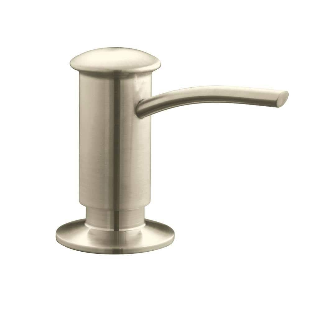 Kohler Countertop Mount Brass And Plastic Soap And Lotion Dispenser In Vibrant Brushed Nickel K 1895 C Bn The Home Depot