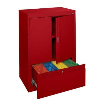 System Series 30 in. W x 42 in. H x 18 in. D Counter Height Storage Cabinet with File Drawer in Red
