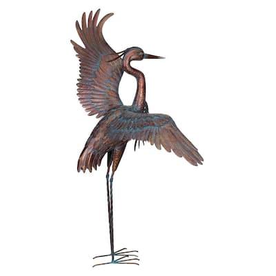 48 in. Copper Patina Heron - Dancing