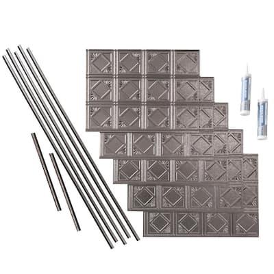 Traditional 4 18 in. x 24 in. Galvanized Steel Vinyl Decorative Wall Tile Backsplash 15 sq. ft. Kit