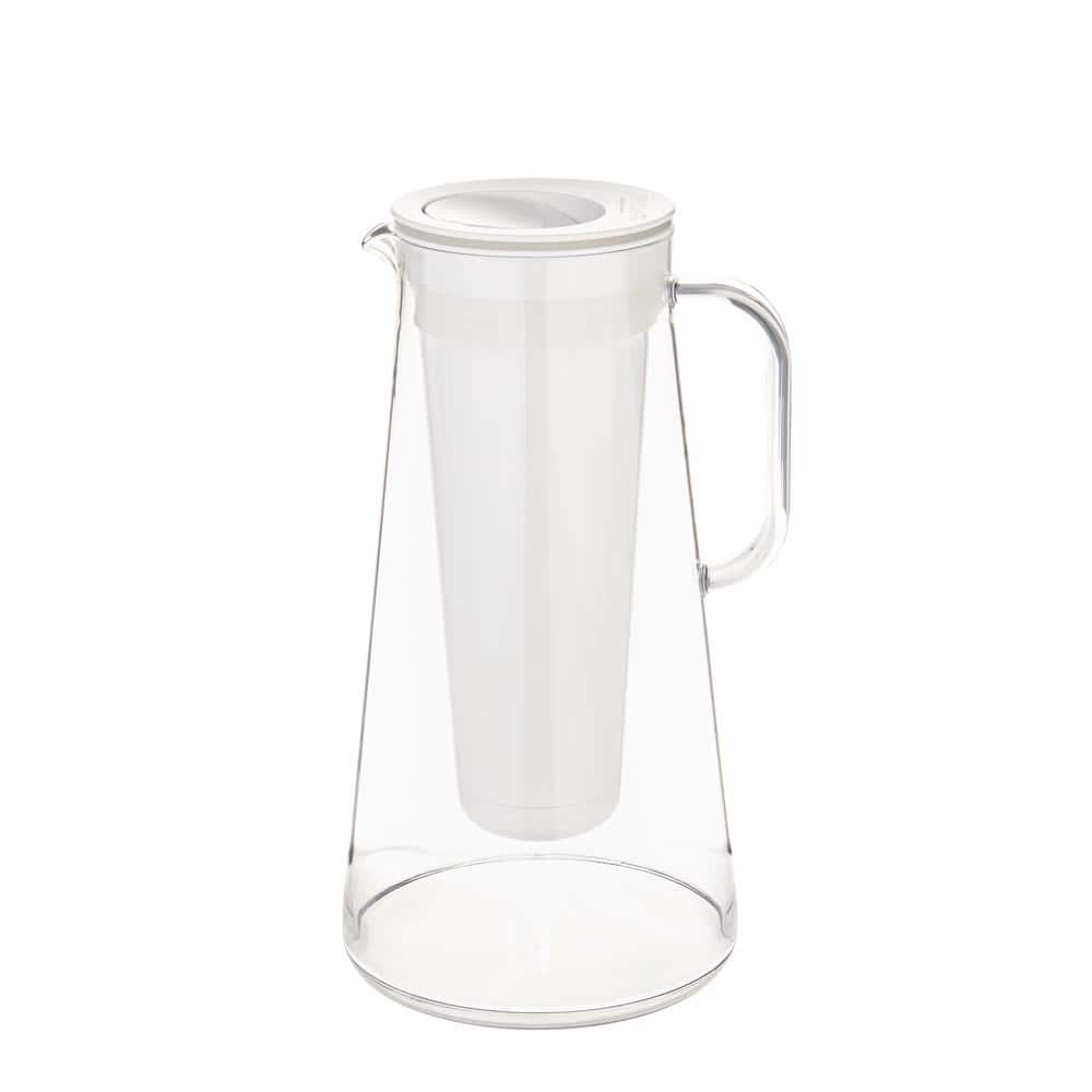Lifestraw Home 7 Cup Glass Water Filter Pitcher In White Lsh7glwh07 The Home Depot