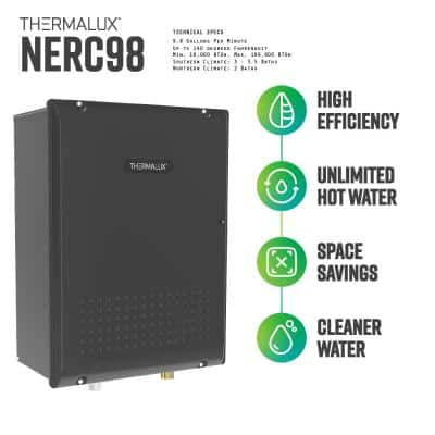 9.8 GPM Natural Gas Indoor Condensing (Direct Vent) Residential Tankless Water Heater - 180,000 BTU