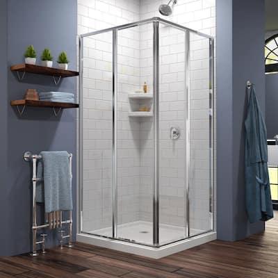 Cornerview 40 in. x 72 in. Semi-Frameless Sliding Shower Door in Chrome with 42 in. x 42 in. Base in White