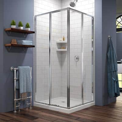 Cornerview 36 in. x 36 in. x 74.75 in. Framed Corner Sliding Shower Enclosure in Chrome with White Acrylic Base