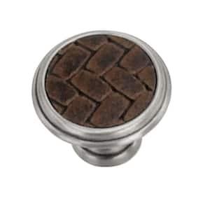 1-1/8 in. Nickel/Leather Round Cabinet Knob