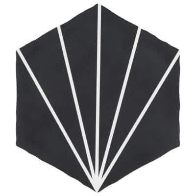 Palm Starburst Black Hex 6 in. x 7 in. Porcelain Floor and Wall Tile (2.97 sq. ft./Case)