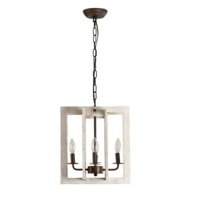 Modern Farmhouse 4-Light Distressed White Wooden Rectangular Chandelier Pendant