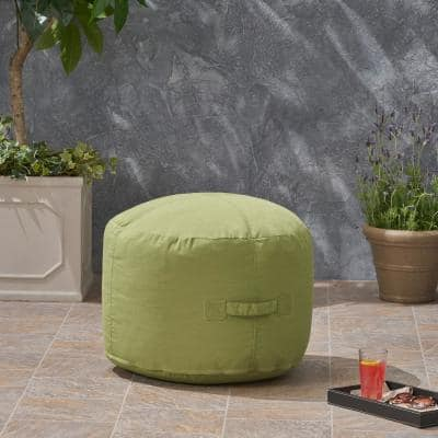 Sandy Cay Green Water Resistant Outdoor Ottoman Pouf