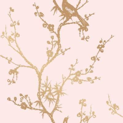 Cynthia Rowley Bird Watching Rose Pink & Gold Peel and Stick Wallpaper (Covers 60 sq. ft.)