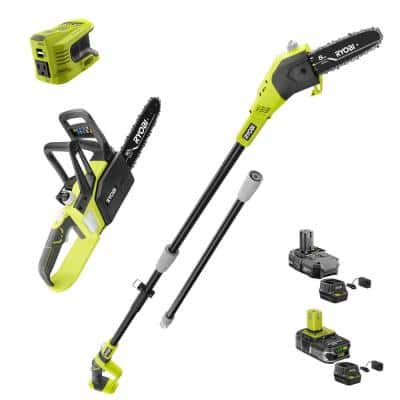 ONE+ 18V 8 in. Cordless Battery Pole Saw, 10 in. Chainsaw, and Power Inverter with (2) Batteries and (2) Chargers