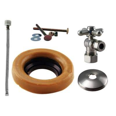 1/2 in. Nominal Compression Cross Handle Angle Stop Toilet Installation Kit with Steel Supply Line in Satin Nickel