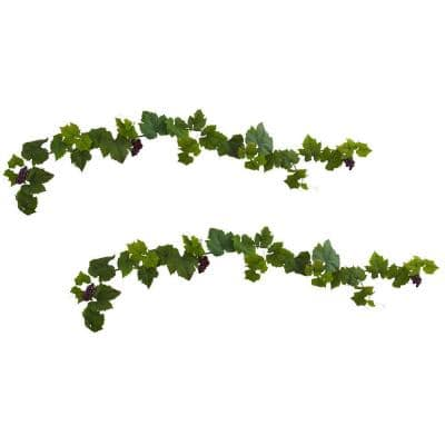 Indoor 6ft. Grape Leaf Deluxe Garland with Grapes (Set of 2)