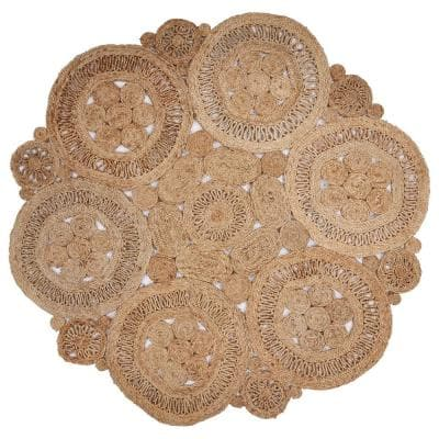 Natural Jute Natural 6 ft. x 6 ft. Round Indoor Area Rug