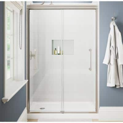 Ashmore 48 in. W x 74-3/8 in. H Sliding Frameless Shower Door in Nickel with 5/16 in. (8 mm) Clear Glass