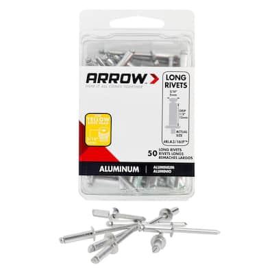 3/16 in. x 1/2 in. Aluminum Grip Range Rivets (50-Pack)