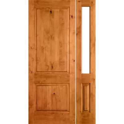 44 in. x 80 in. Rustic Unfinished Knotty Alder Square-Top Left-Hand Right Half Sidelite Clear Glass Prehung Front Door