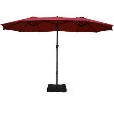15 ft. Outdoor Patio Market Umbrella in Burgundy with Crank and Base