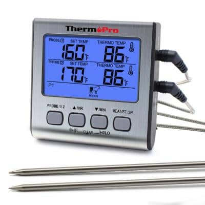 TP-17 Dual Probes Digital Meat Cooking Thermometer for Grill BBQ Food Oven Smoker