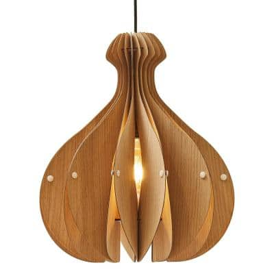 Vesta 16 in. White Oak Ceiling Pendant/Table Lamp