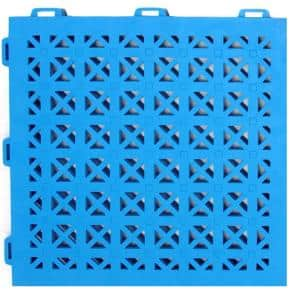 StayLock Perforated Blue 12 in. x 12 in. x 0.56 in. PVC Plastic Interlocking Outdoor Floor Tile (Case of 26)