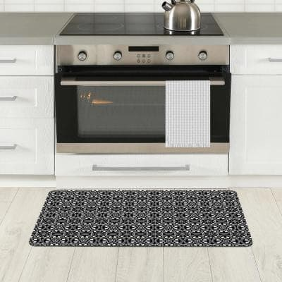 Florentine Tiles Gray 20 in. x 36 in. PVC Comfort Mat