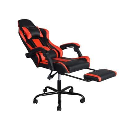 Blythewood Red High Back Faux Leather Racing Style Gaming Chair Ergonomic Backrest With Footrest