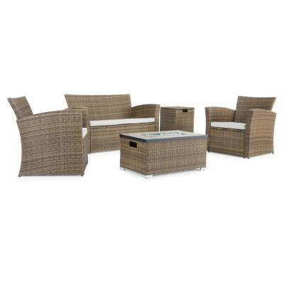 Magna Brown 4-Piece Wicker Patio Fire Pit Conversation Set with Beige Cushions