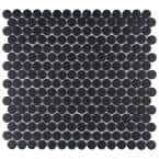 Hudson Penny Round Matte Black 12 in. x 12-5/8 in. x 5 mm Porcelain Mosaic Tile (10.74 sq. ft. / case)