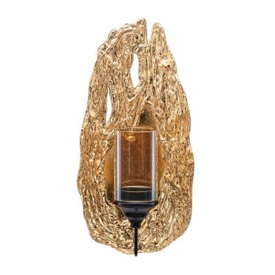 Vivien 14 in. Abstract Gold Wall Candle Sconce with Glass Hurricane