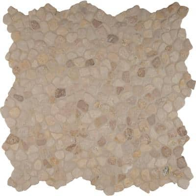 Travertine Blend River Rock 12 in. x 12 in. x 10 mm Textured Marble Mesh-Mounted Mosaic Tile (10 sq. ft. / case)