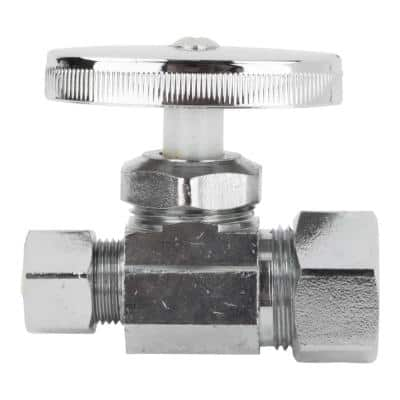 1/2 in. Nominal Compression Inlet x 3/8 in. O.D. Compression Outlet Multi-Turn Straight Valve, Chrome