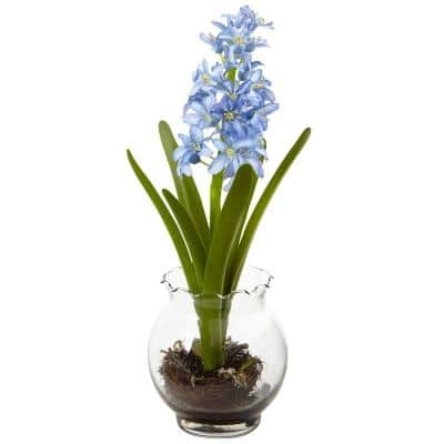 14 in. Hyacinth and Birds Nest with Vase