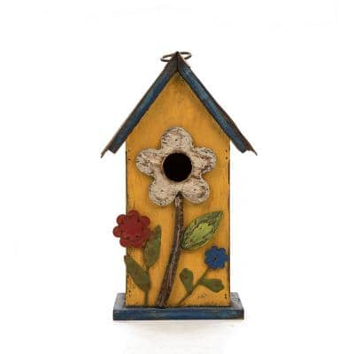 10.25 in. H Distressed Solid Wood Birdhouse with Flower