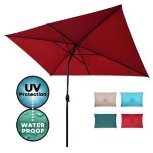 10 ft. x 6.5 ft. Rectangular Market Patio Umbrella Outdoor with Push Button Tilt and Crank in Red