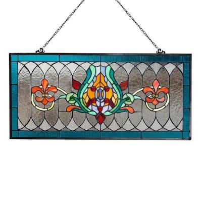 Blue Fleur De Lis Stained Glass Pub Window Panel