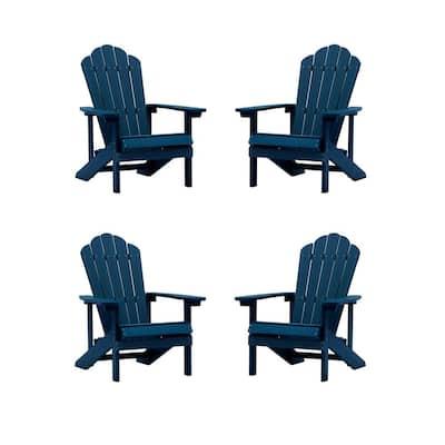 Navy Reclining Wood Adirondack Chair (Set of 4)